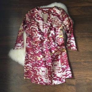 Tibi silk tunic style dress - red, cream, & white
